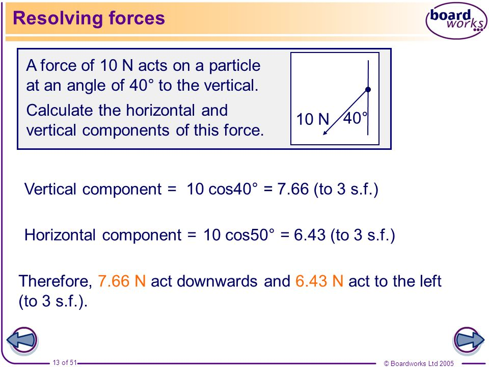 © Boardworks Ltd 2005 13 of 51 Resolving forces A force of 10 N acts on a particle at an angle of 40° to the vertical. Calculate the horizontal and ve