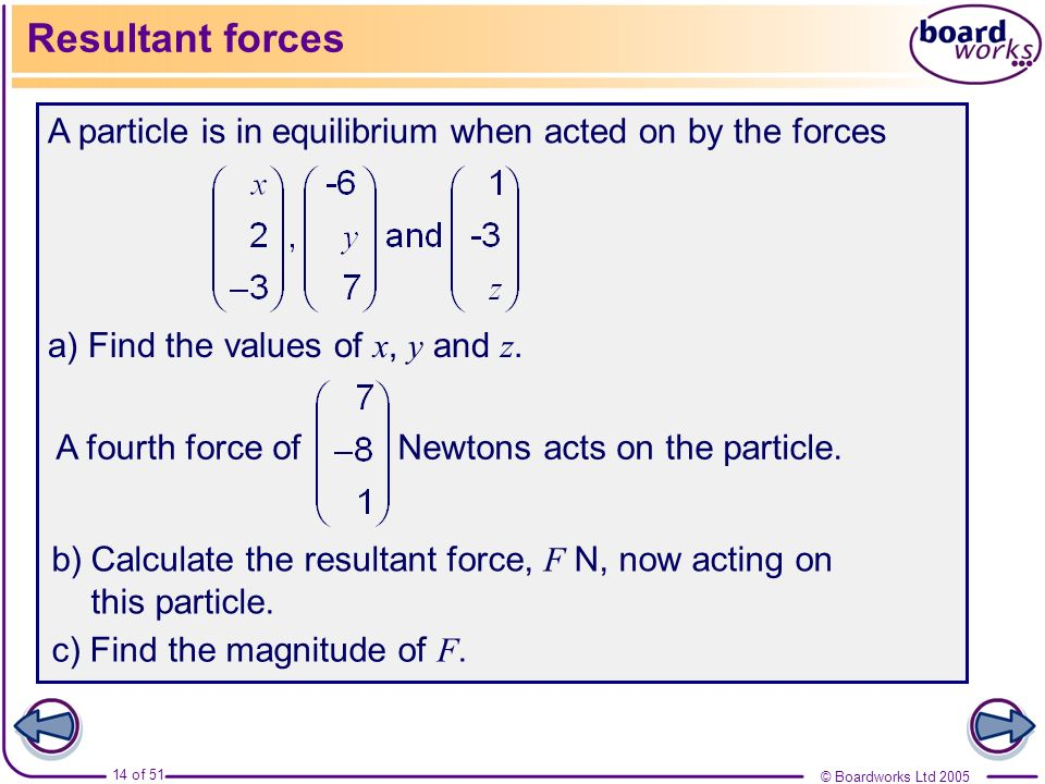 © Boardworks Ltd 2005 14 of 51 Resultant forces A particle is in equilibrium when acted on by the forces a) Find the values of x, y and z. A fourth fo