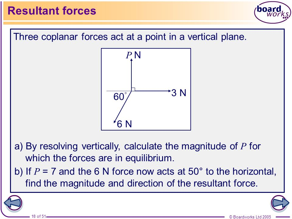 © Boardworks Ltd 2005 18 of 51 Resultant forces Three coplanar forces act at a point in a vertical plane. a) By resolving vertically, calculate the ma