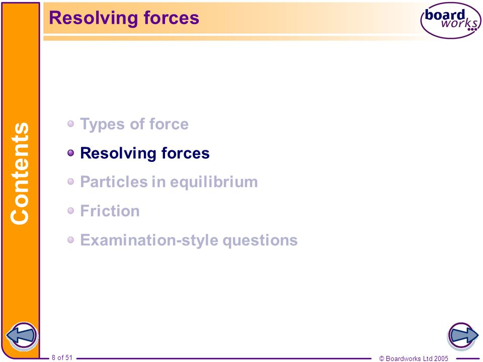 © Boardworks Ltd 2005 8 of 51 Contents © Boardworks Ltd 2005 8 of 51 Resolving forces Types of force Resolving forces Particles in equilibrium Frictio