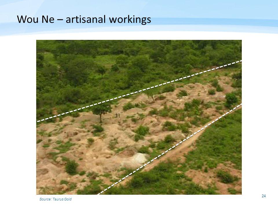 24 Wou Ne – artisanal workings Source: Taurus Gold