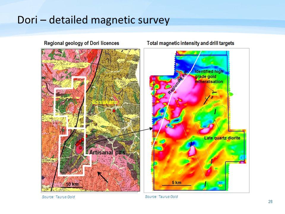 28 Dori – detailed magnetic survey Source: Taurus Gold