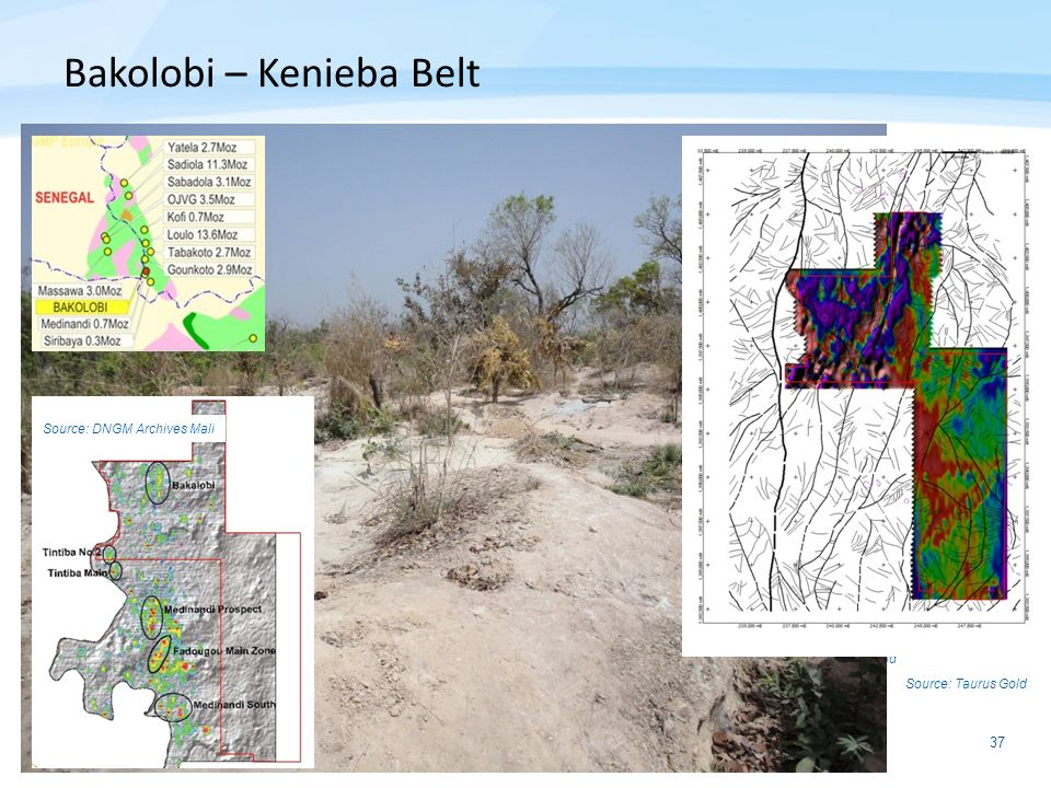37 Source: Geochem Sampling Source: VTem Bakolobi – Kenieba Belt Source: Taurus Gold Source: DNGM (Mali) Archives Source: DNGM Archives Mali Source: T