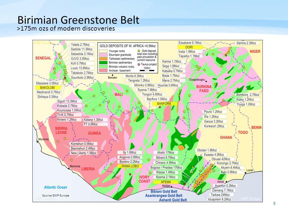9 Birimian Greenstone Belt >175m ozs of modern discoveries Source GMP Europe