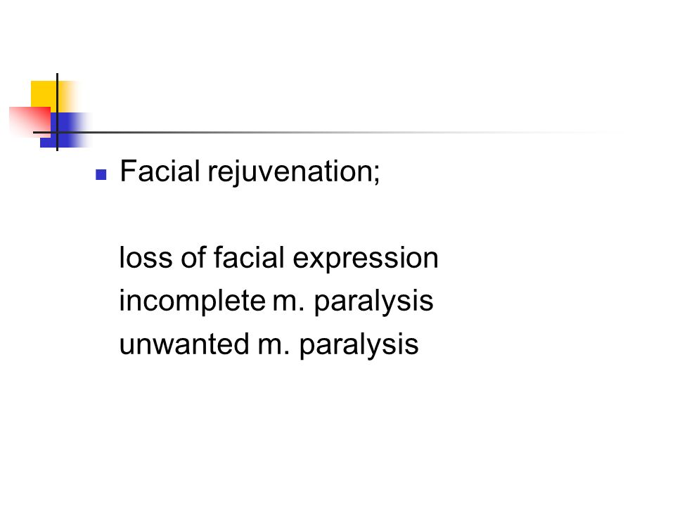 Facial rejuvenation; loss of facial expression incomplete m. paralysis unwanted m. paralysis