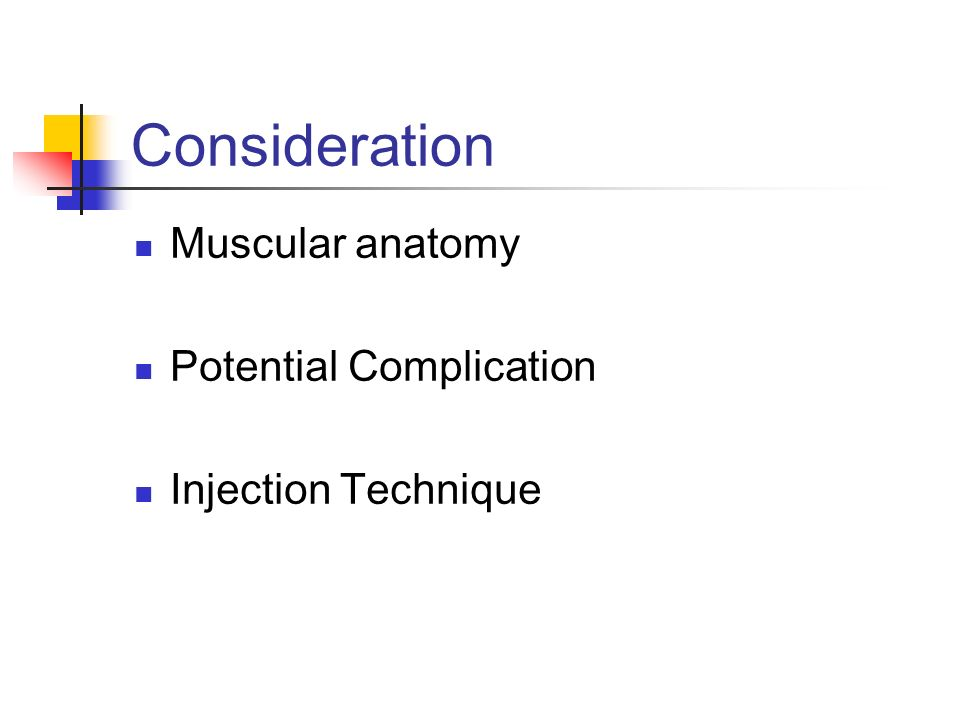 Consideration Muscular anatomy Potential Complication Injection Technique