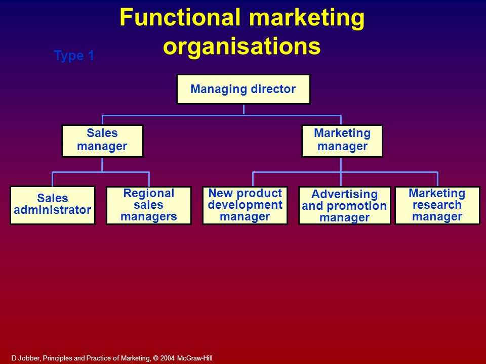 D Jobber, Principles and Practice of Marketing, © 2004 McGraw-Hill Managing director Marketing manager Sales manager Regional sales managers New produ
