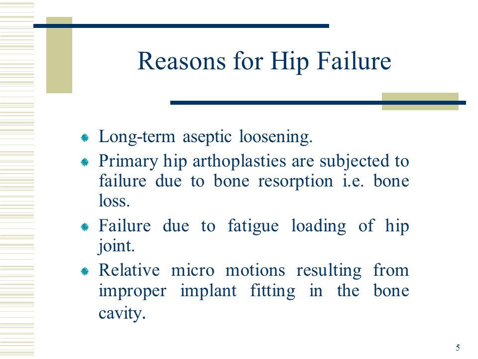 5 Reasons for Hip Failure Long-term aseptic loosening. Primary hip arthoplasties are subjected to failure due to bone resorption i.e. bone loss. Failu