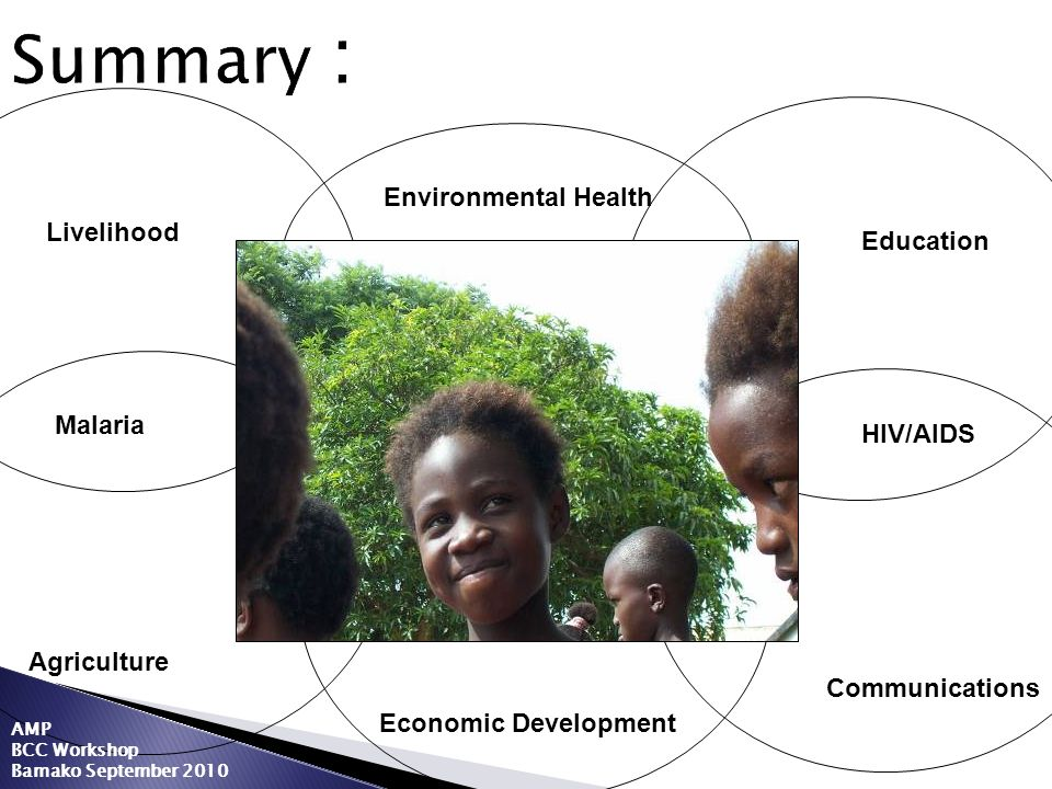 Summary : Agriculture Education Economic Development Communications Environmental Health Malaria HIV/AIDS Livelihood AMP BCC Workshop Bamako September