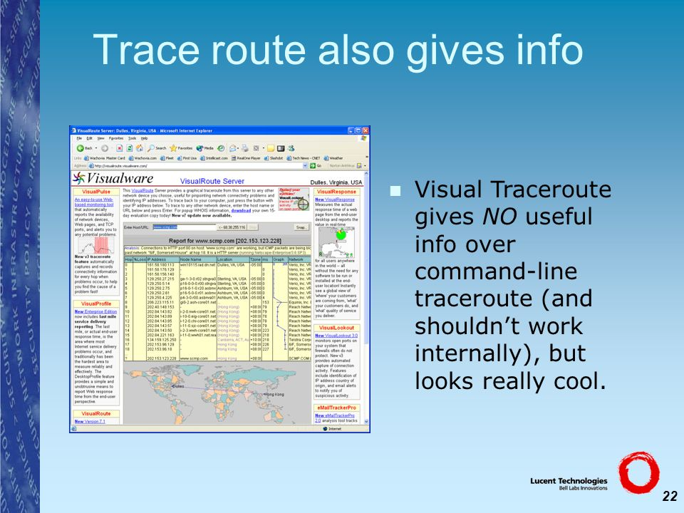 22 Trace route also gives info Visual Traceroute gives NO useful info over command-line traceroute (and shouldnt work internally), but looks really co