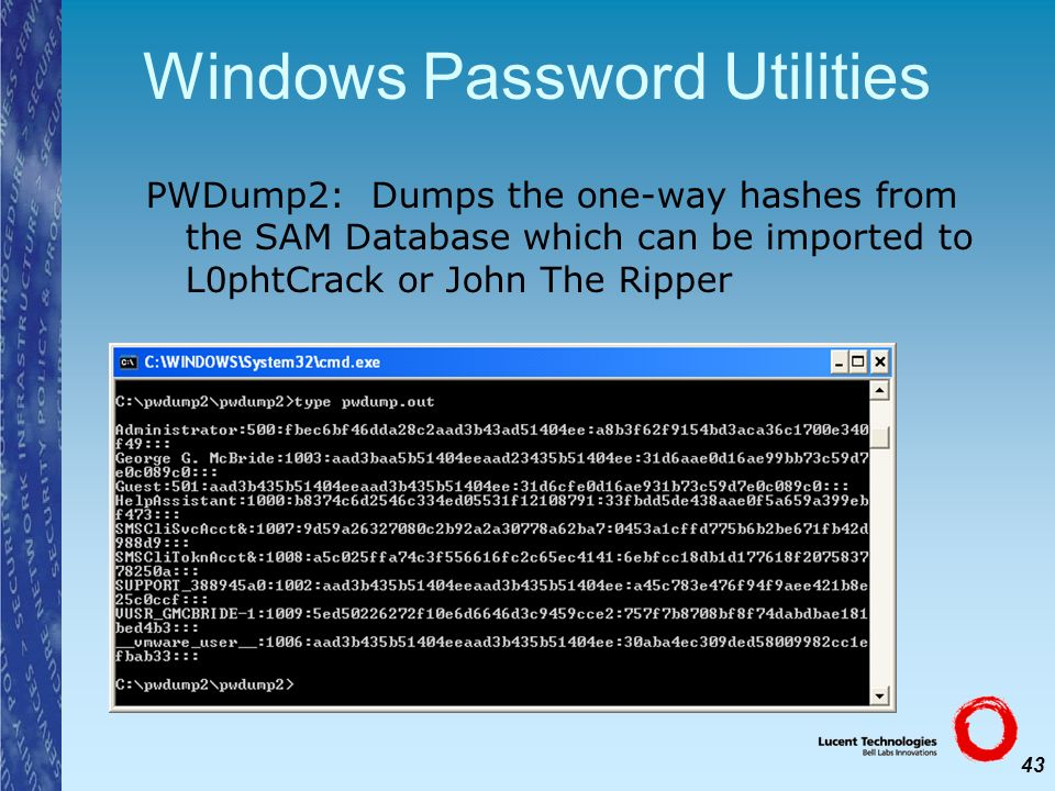43 Windows Password Utilities PWDump2: Dumps the one-way hashes from the SAM Database which can be imported to L0phtCrack or John The Ripper