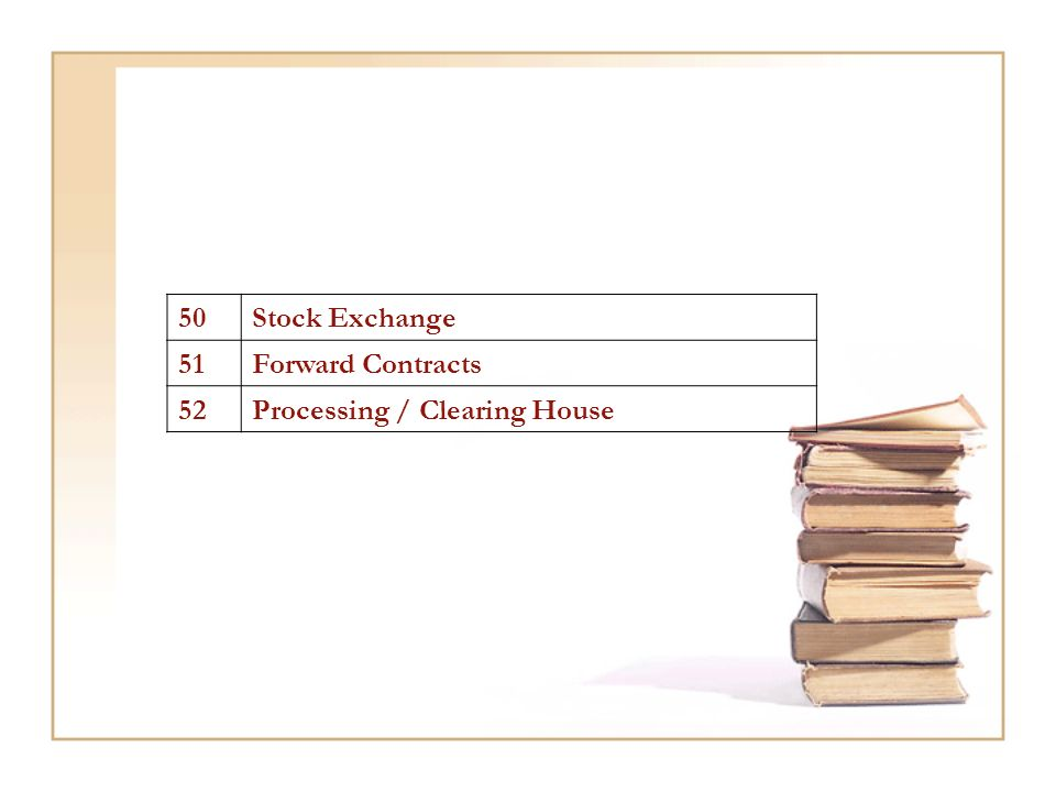 50Stock Exchange 51Forward Contracts 52Processing / Clearing House