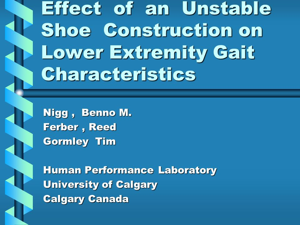 Effect of an Unstable Shoe Construction on Lower Extremity Gait Characteristics Nigg, Benno M.
