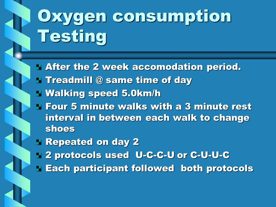 Oxygen consumption Testing After the 2 week accomodation period.