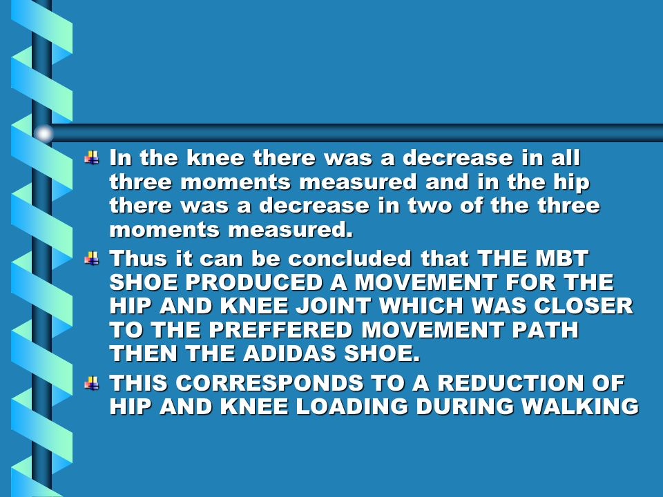 In the knee there was a decrease in all three moments measured and in the hip there was a decrease in two of the three moments measured.