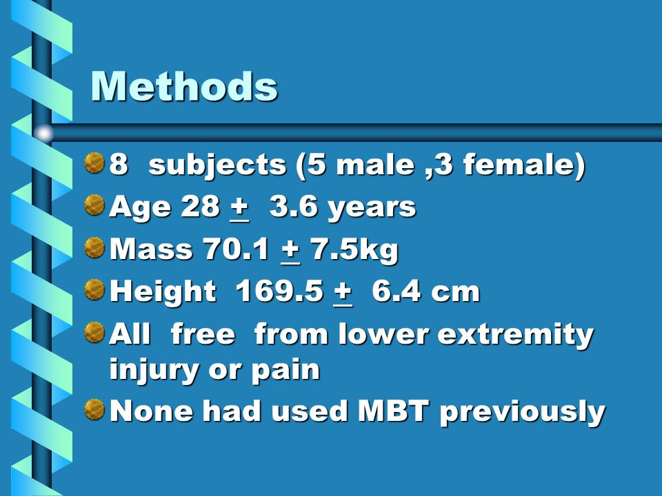 Methods 8 subjects (5 male,3 female) Age 28 + 3.6 years Mass 70.1 + 7.5kg Height 169.5 + 6.4 cm All free from lower extremity injury or pain None had used MBT previously