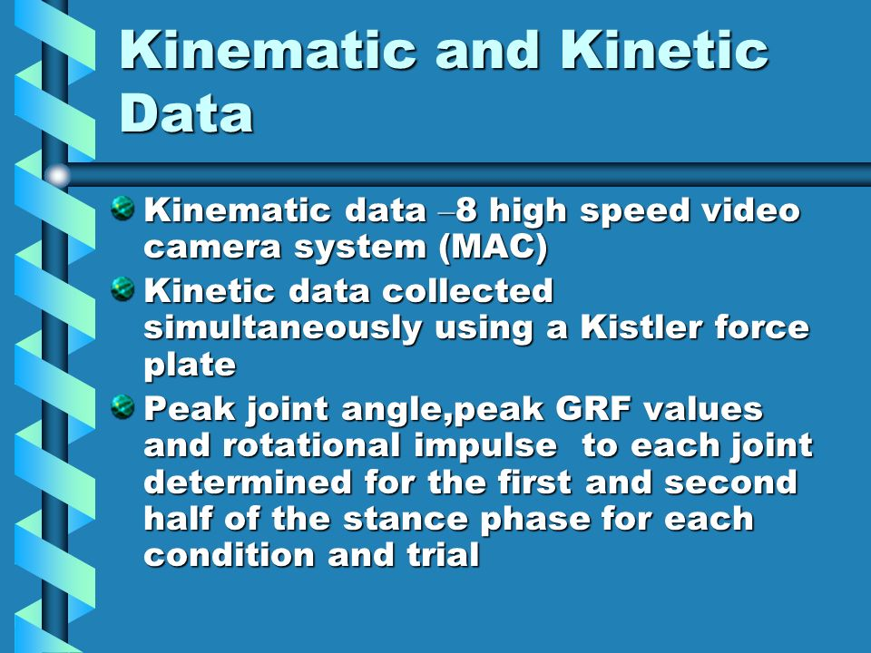 Kinematic and Kinetic Data Kinematic data – 8 high speed video camera system (MAC) Kinetic data collected simultaneously using a Kistler force plate Peak joint angle,peak GRF values and rotational impulse to each joint determined for the first and second half of the stance phase for each condition and trial