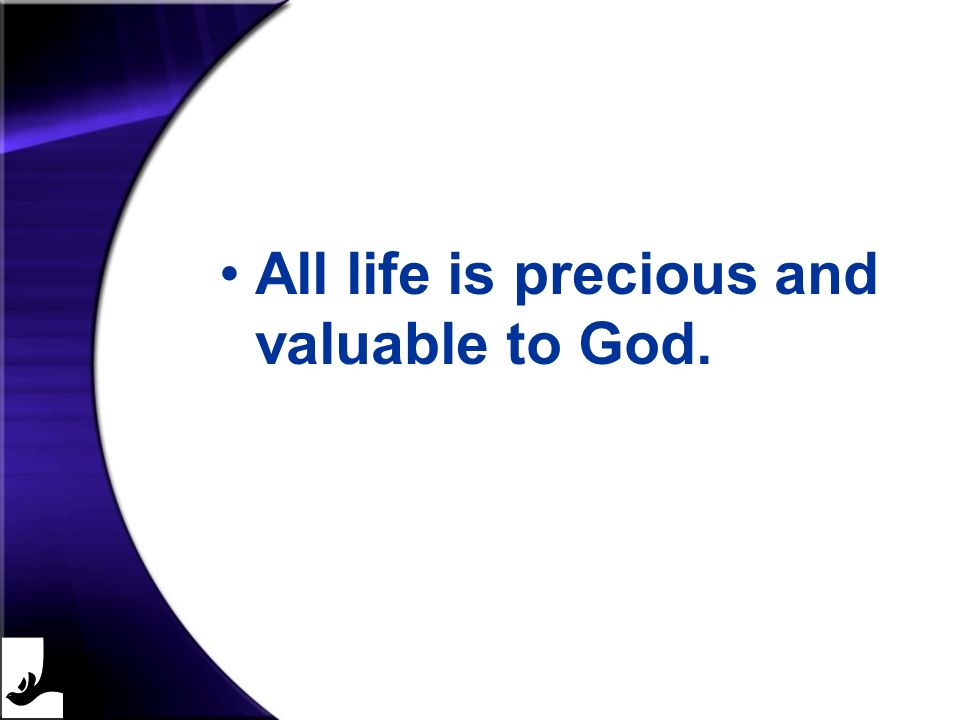 All life is precious and valuable to God.