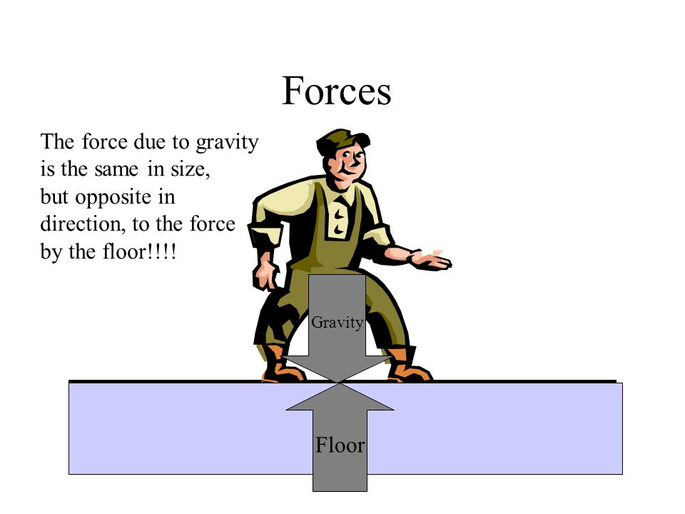 Forces The force due to gravity is the same in size, but opposite in direction, to the force by the floor!!!.