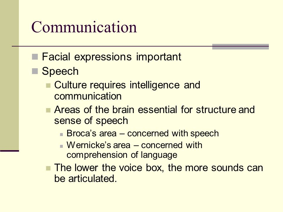 Communication Facial expressions important Speech Culture requires intelligence and communication Areas of the brain essential for structure and sense