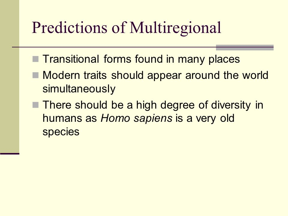 Predictions of Multiregional Transitional forms found in many places Modern traits should appear around the world simultaneously There should be a hig