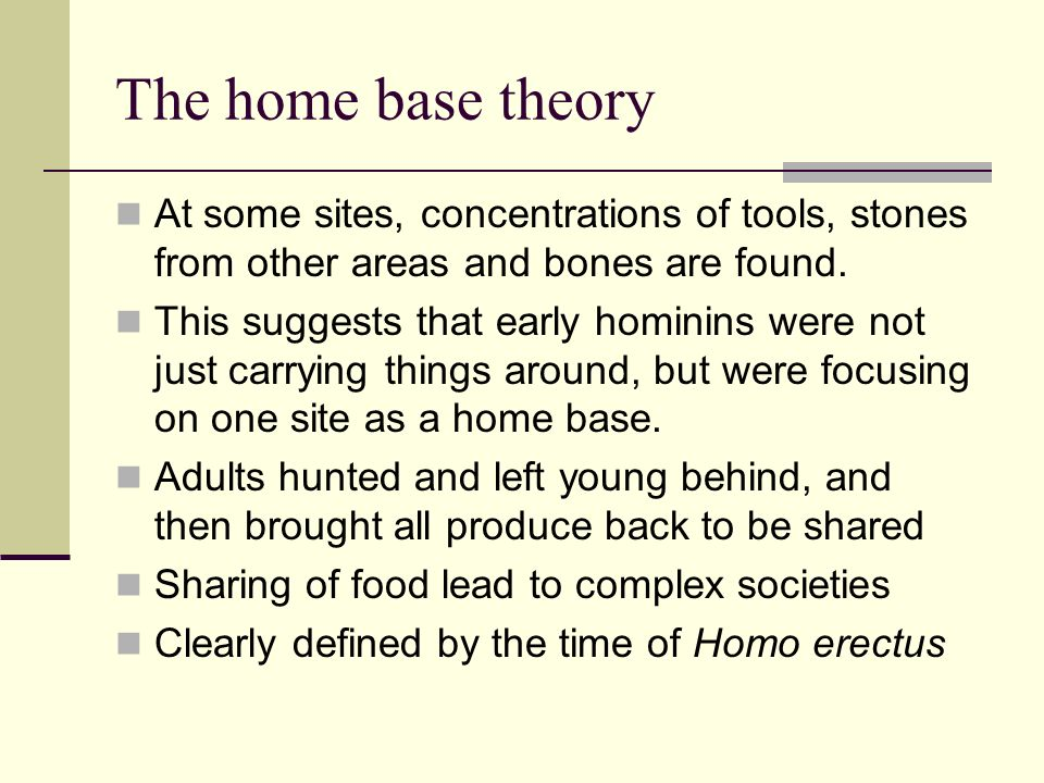 The home base theory At some sites, concentrations of tools, stones from other areas and bones are found. This suggests that early hominins were not j