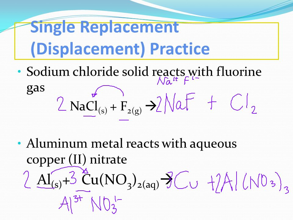 Single Replacement (Displacement) Practice Sodium chloride solid reacts with fluorine gas NaCl (s) + F 2(g) Aluminum metal reacts with aqueous copper
