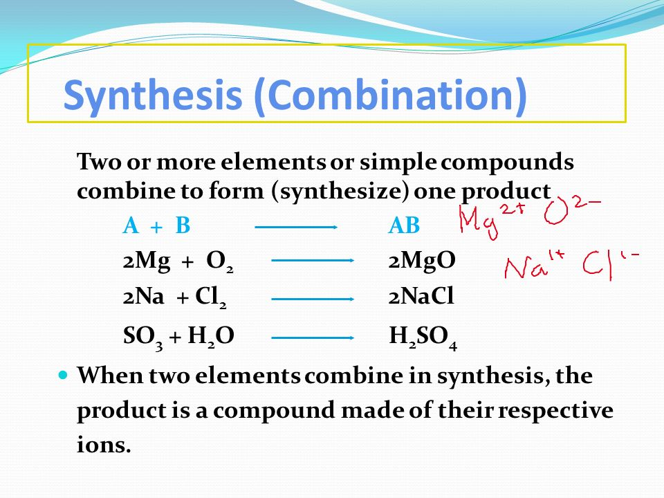 Synthesis (Combination) Two or more elements or simple compounds combine to form (synthesize) one product A + B AB 2Mg + O 2 2MgO 2Na + Cl 2 2NaCl SO