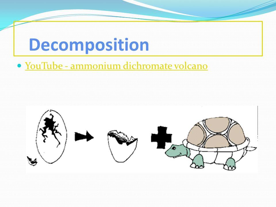 Decomposition YouTube - ammonium dichromate volcano