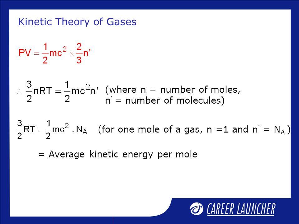 Kinetic Theory of Gases (where n = number of moles, n = number of molecules) (for one mole of a gas, n =1 and n = N A ) = Average kinetic energy per m