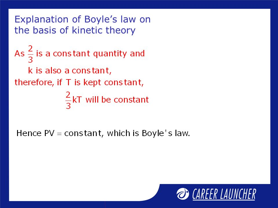 Explanation of Boyles law on the basis of kinetic theory