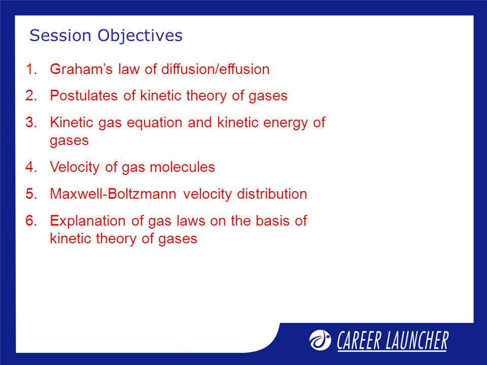 1.Grahams law of diffusion/effusion 2.Postulates of kinetic theory of gases 3.Kinetic gas equation and kinetic energy of gases 4.Velocity of gas molec