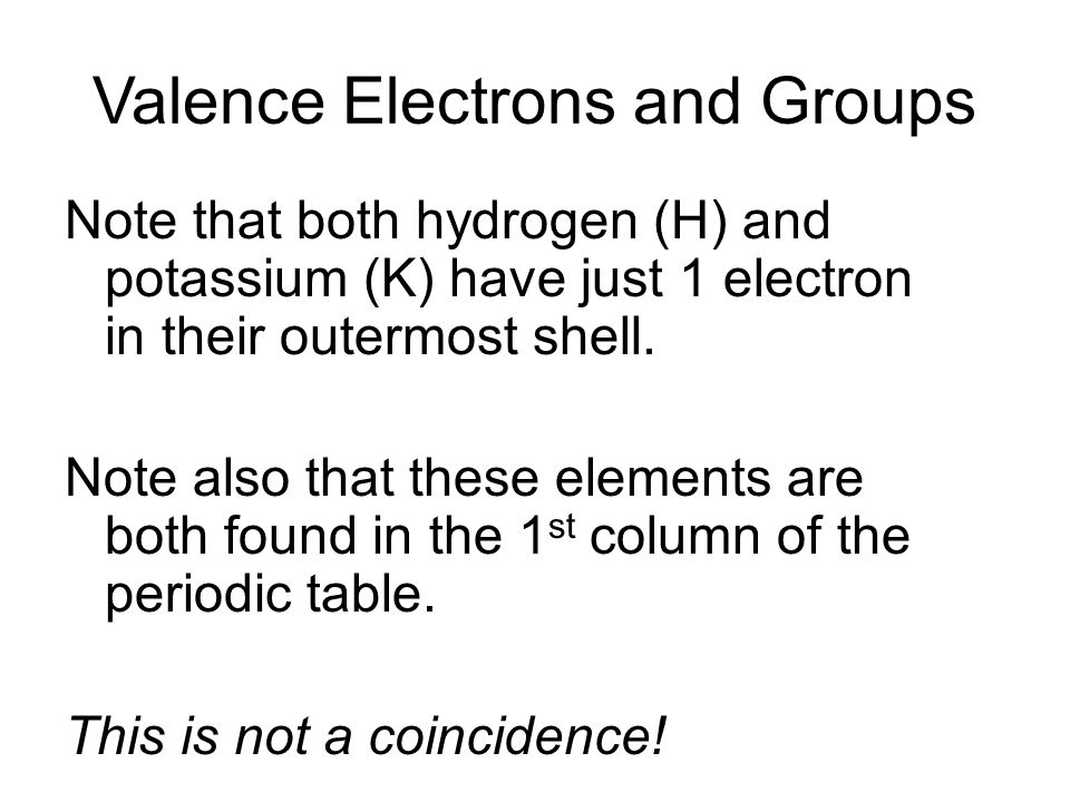 Valence Electrons and Groups Note that both hydrogen (H) and potassium (K) have just 1 electron in their outermost shell. Note also that these element