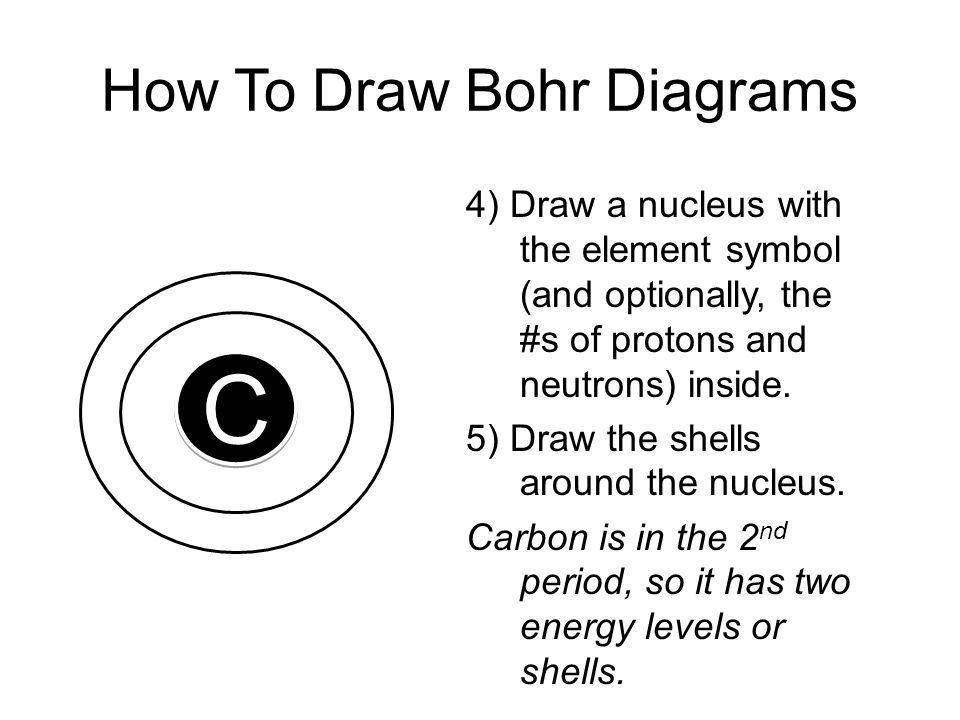 How To Draw Bohr Diagrams C C 4) Draw a nucleus with the element symbol (and optionally, the #s of protons and neutrons) inside. 5) Draw the shells ar