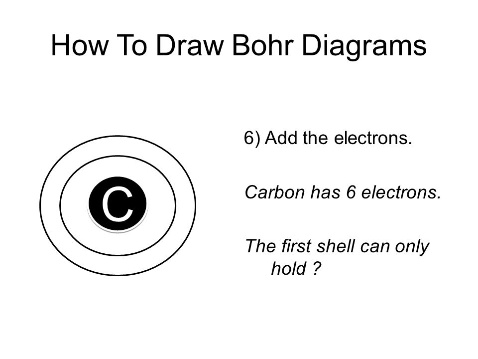 How To Draw Bohr Diagrams 6) Add the electrons. Carbon has 6 electrons. The first shell can only hold ? C C