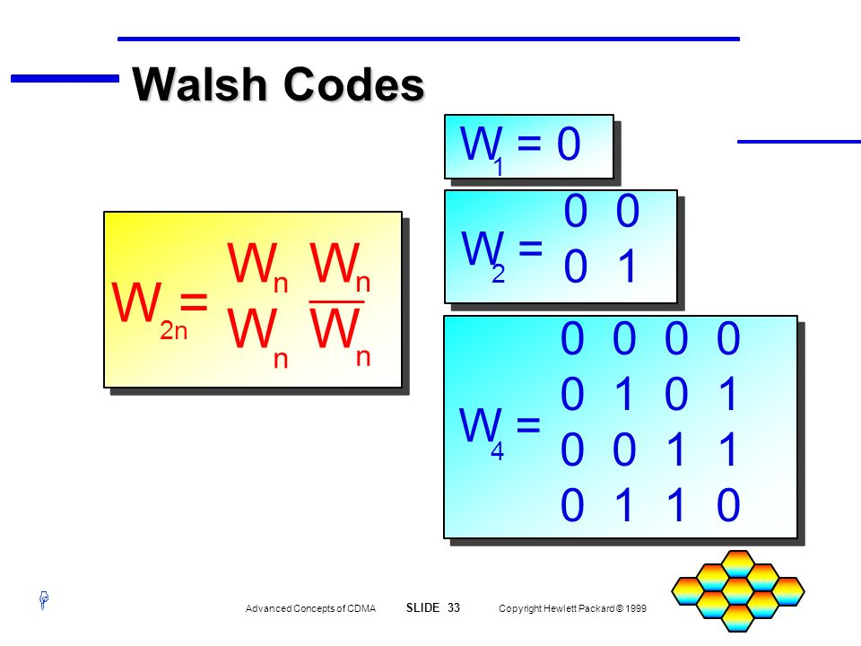 H Advanced Concepts of CDMA SLIDE 33 Copyright Hewlett Packard © 1999 W = 2 0 0 1 4 W = 0 0 0 1 0 0 1 1 0 1 1 0 W = 0 1 n n n n W W = 2n2n Walsh Codes