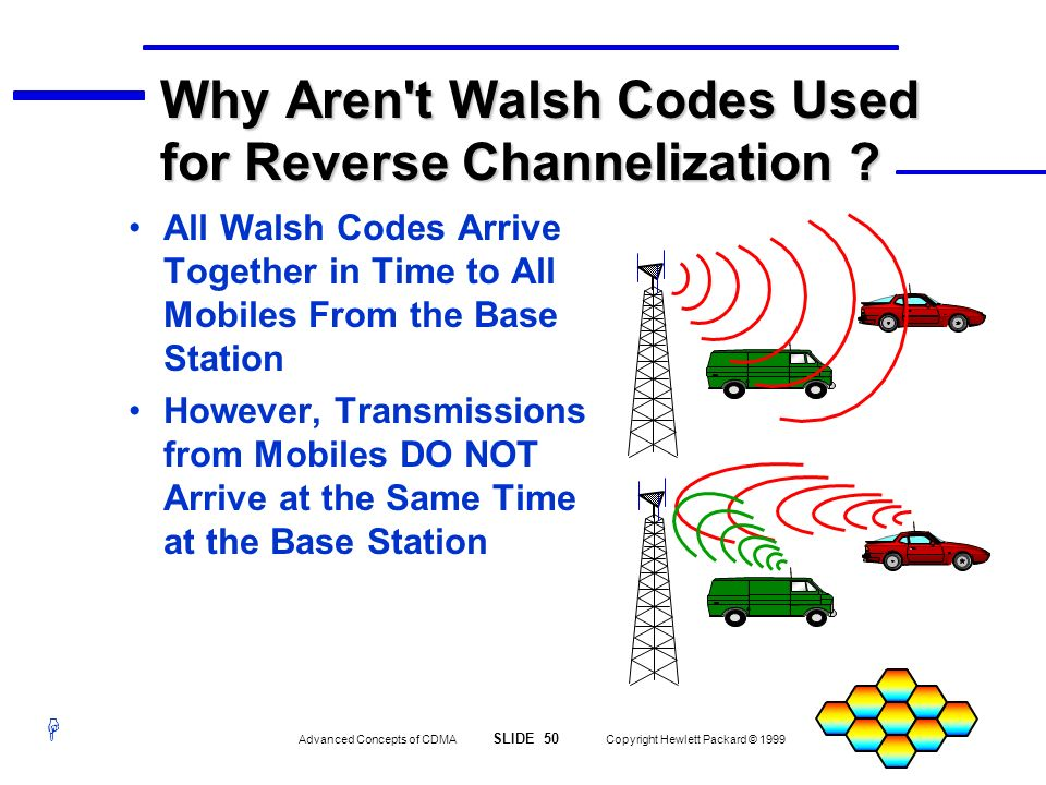 H Advanced Concepts of CDMA SLIDE 50 Copyright Hewlett Packard © 1999 Why Aren't Walsh Codes Used for Reverse Channelization ? All Walsh Codes Arrive