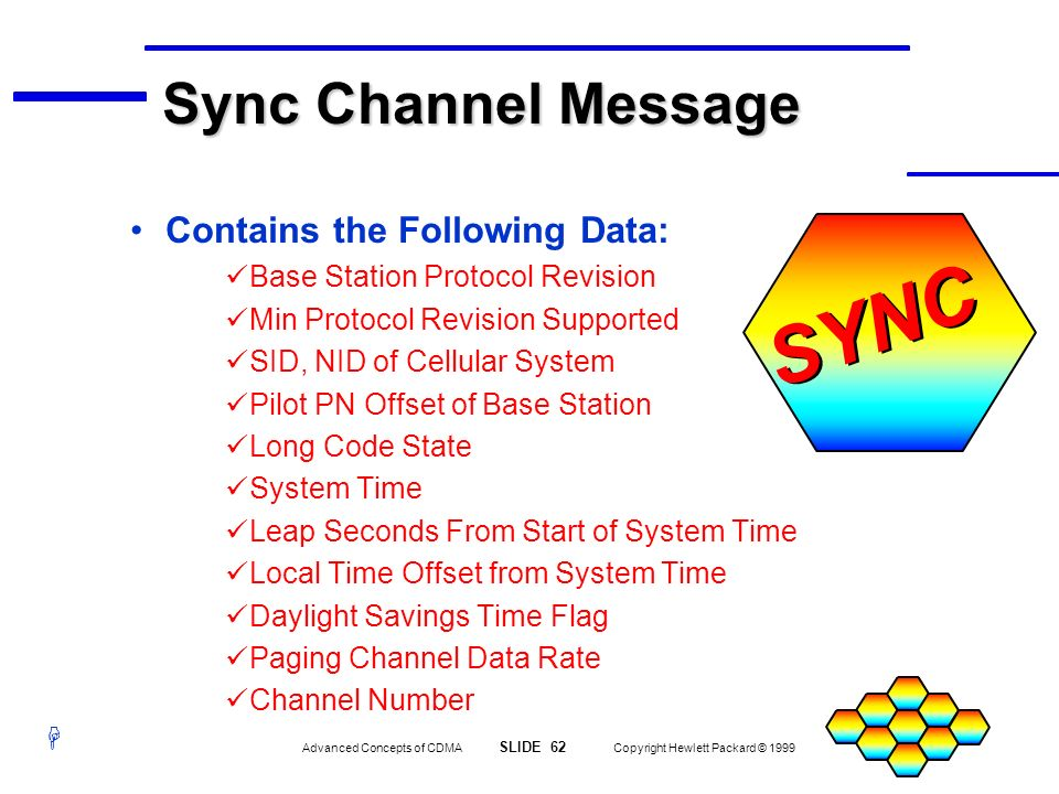 H Advanced Concepts of CDMA SLIDE 62 Copyright Hewlett Packard © 1999 SYNC Sync Channel Message Contains the Following Data: Base Station Protocol Rev