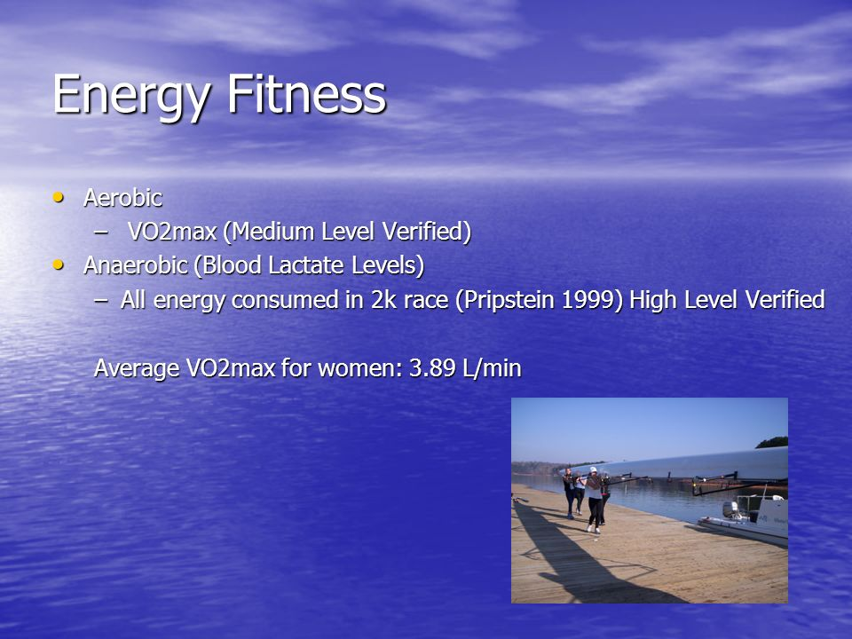 Energy Fitness Aerobic Aerobic – VO2max (Medium Level Verified) Anaerobic (Blood Lactate Levels) Anaerobic (Blood Lactate Levels) –All energy consumed