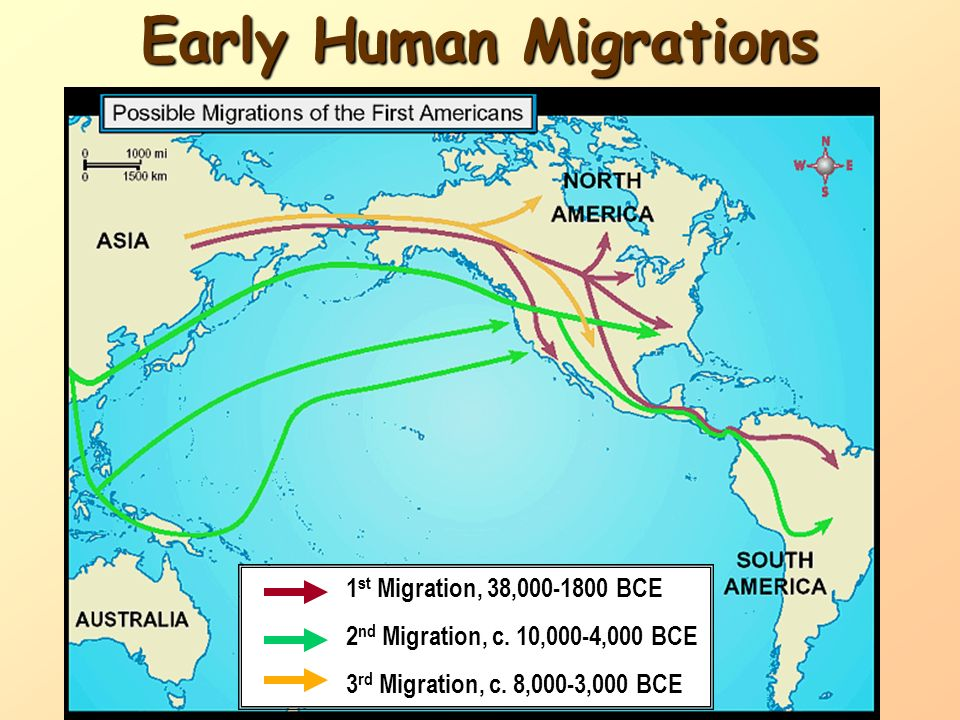 Pre- Columbian time period. First Americans came from Asia Supposedly crossed the Bering Strait during the Ice Age Following a food source Gradual mig
