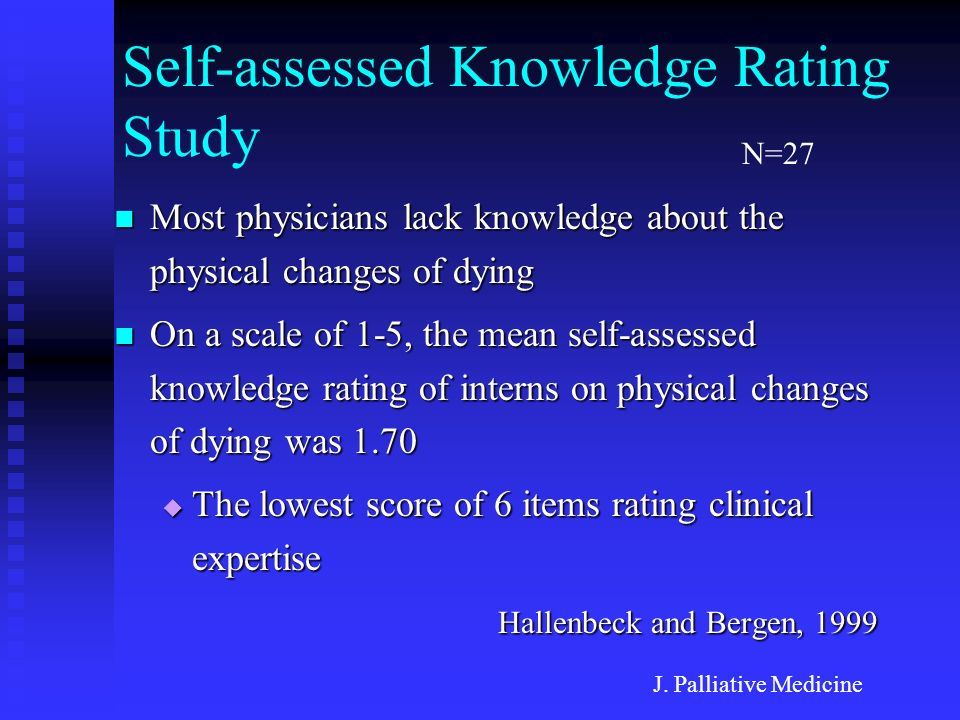 Self-assessed Knowledge Rating Study Most physicians lack knowledge about the physical changes of dying Most physicians lack knowledge about the physi