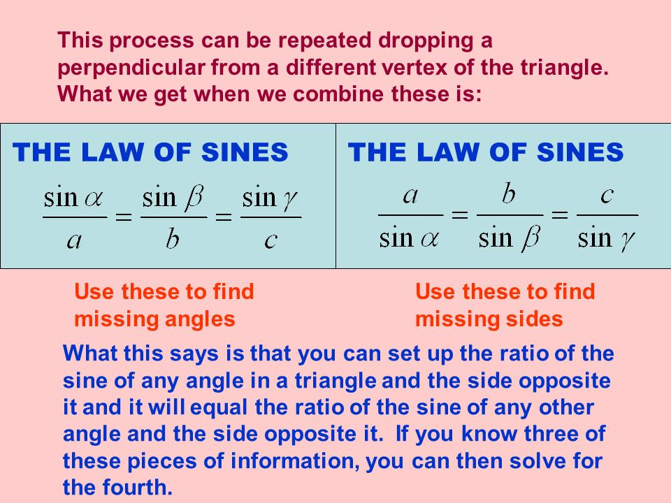 There are three possible configurations that will enable us to use the Law of Sines.