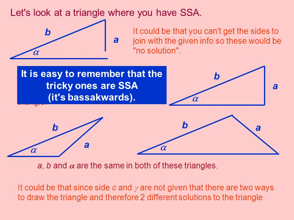 You can just check to see if there are two triangles whenever you have the SSA case.