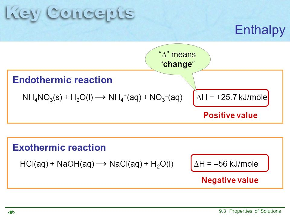 17 9.3 Properties of Solutions meanschange Enthalpy Endothermic reaction Exothermic reaction Positive value Negative value NH 4 NO 3 (s) + H 2 O(l) NH