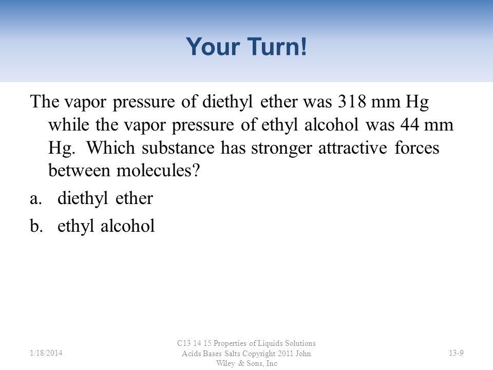 Vapor Pressure C13 14 15 Properties of Liquids Solutions Acids Bases Salts Copyright 2011 John Wiley & Sons, Inc 13-81/18/2014