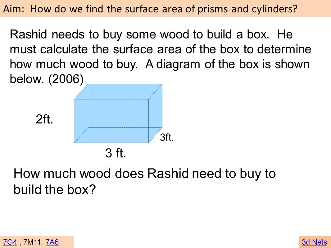 Aim: How do we find the surface area of prisms and cylinders? 7G47G4, 7M11, 7A67A63d Nets Rashid needs to buy some wood to build a box. He must calcul