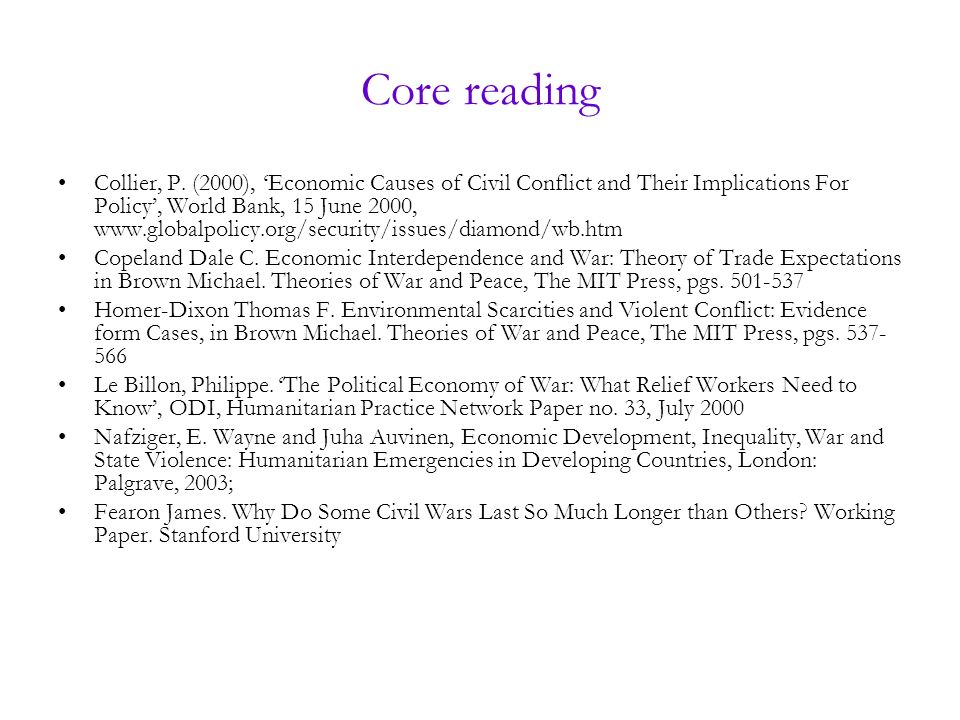 Core reading Collier, P.