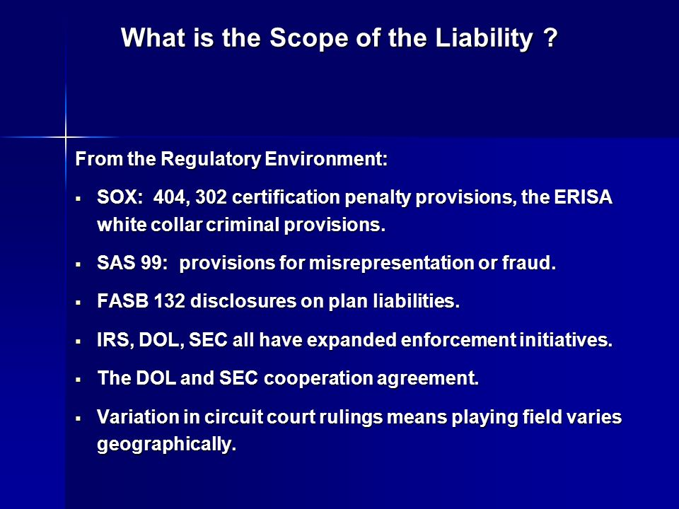 What is the Scope of the Liability .