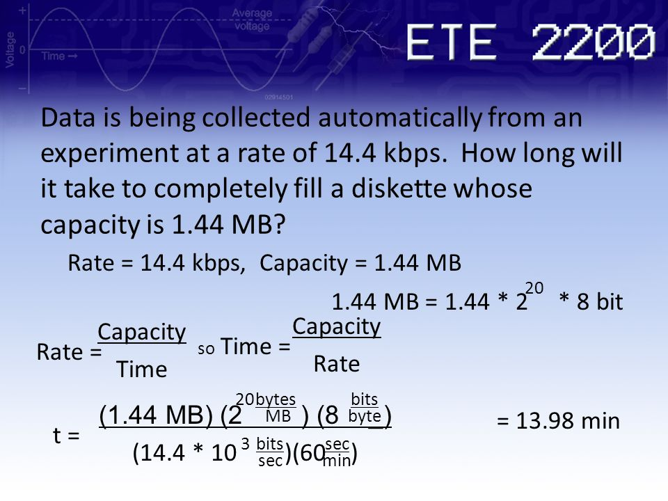 Data is being collected automatically from an experiment at a rate of 14.4 kbps. How long will it take to completely fill a diskette whose capacity is