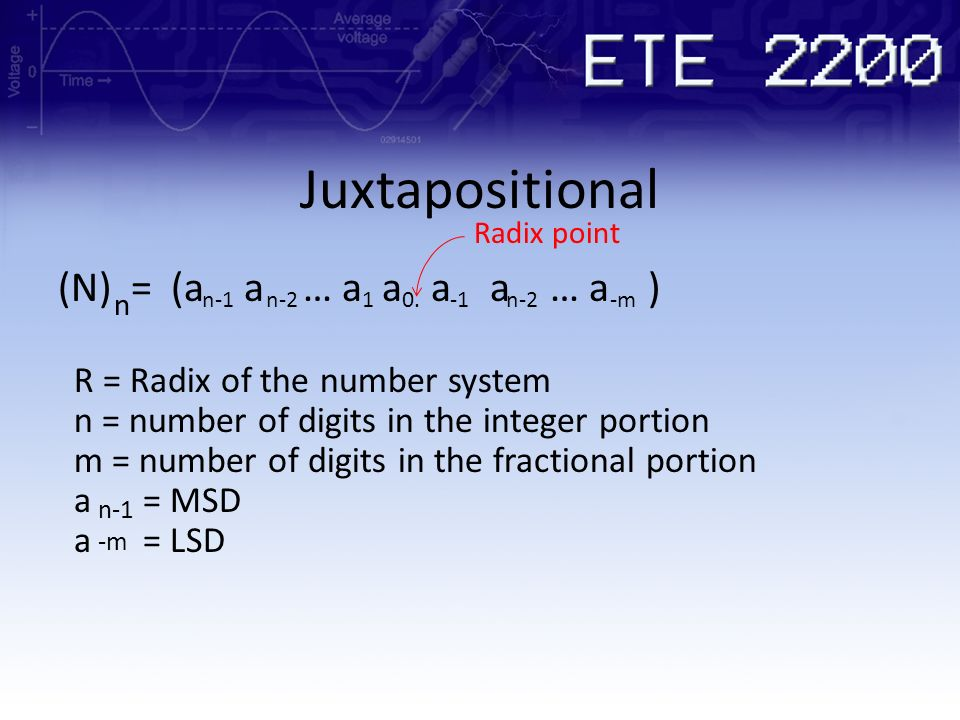 Juxtapositional n-1 (N) = (a a … a a a a … a ) n n-210.n-2-m R = Radix of the number system Radix point n = number of digits in the integer portion m